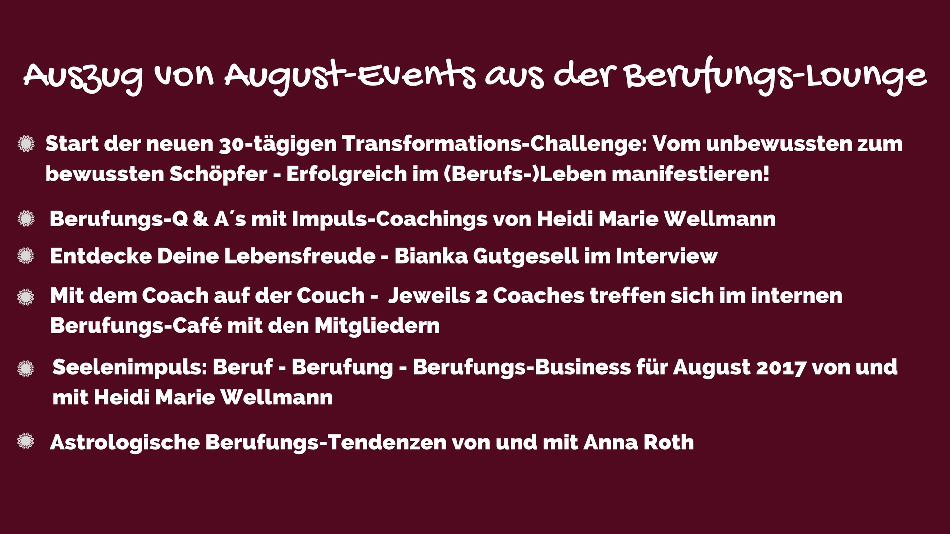 Berufungs-Lounge aktuelle Events August 2017